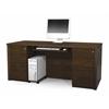 Bestar Prestige + executive desk including assembled pedestals in Chocolate