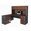 Prestige + L-shaped workstation including assembled pedestals in Bordeaux & Graphite