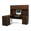 Bestar Prestige + L-shaped workstation including assembled pedestals in Chocolate
