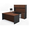Prestige + U-shaped workstation including assembled pedestals in Bordeaux & Graphite