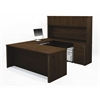 Prestige + U-shaped workstation including assembled pedestals in Chocolate