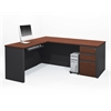 Prestige + L-shaped workstation including assembled pedestal in Bordeaux & Graphite