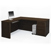 Prestige + L-shaped workstation including assembled pedestal in Chocolate