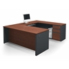 Bestar Prestige + U-shaped workstation including assembled pedestal in Bordeaux & Graphite