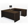 Bestar Prestige + U-shaped workstation including assembled pedestal in Chocolate