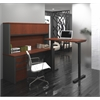 Prestige + L-Desk with Hutch including Electric Height Adjustable Table in Bordeaux & Graphite