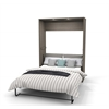 Full Wall Bed in Bark Gray and White
