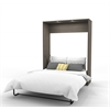 Queen Wall Bed in Bark Gray and White
