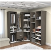 Deluxe Corner Walk-In Closet in Bark Gray and White