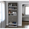 "29.5"" Shoe/Closet Storage Unit with drawers in Bark Gray and White"