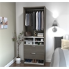 "29.5"" Multi-Storage Cubby with drawers in Bark Gray and White"