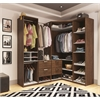 Premium Corner Walk-In Closet in Oak Barrel and White