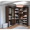 Deluxe Corner Walk-In Closet in Oak Barrel and White