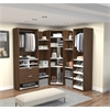 Elite Corner Walk-In Closet in Oak Barrel and White