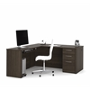 "Bestar Embassy 66"" L-shaped desk in Dark Chocolate"
