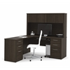"Embassy 66"" L-shaped desk in Dark Chocolate"