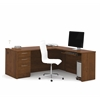 "Bestar Embassy 71"" L-shaped desk in Tuscany Brown"