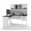 Innova L-shaped desk with accessories in White and Antigua