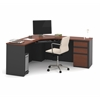 Prestige Corner Desk including one pedestal in Bordeaux & Graphite
