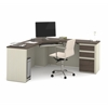 Prestige Corner Desk including one pedestal in White Chocolate & Antigua