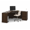 Prestige Corner Desk including one pedestal in Chocolate