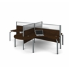 Pro-Biz Four L-desk workstation with rounded corners in Chocolate
