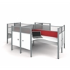 Pro-Biz Four L-desk workstation in White with Red Tack Boards