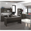 Ridgeley U-shaped Desk with lateral file and bookcase in Dark Chocolate