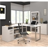 Solay L-Shaped Desk with lateral file and bookcase in White