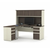 Prestige L-shaped workstation including two pedestals in White Chocolate & Antigua