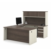 Prestige U-shaped workstation including two pedestals in White Chocolate & Antigua