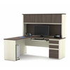 Prestige L-shaped workstation including one pedestal in White Chocolate & Antigua