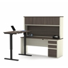 Prestige L-Desk with Hutch including Electric Height Adjustable Table in White Chocolate & Antigua