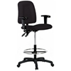 Contoured Drafting Chair with Adjustable Arms - Black Fabric