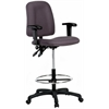 Harwick Contoured Drafting Chair with Adjustable Arms - Gray Fabric