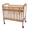 Compact Non-folding Wooden Window Crib with Safety Gate, Natural