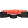Fine Mod Imports Roundano Outdoor Sofa Orange Cushions