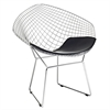Fine Mod Imports Wire Diamond Chair, Black