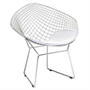 Wire Diamond Chair, White
