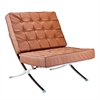 Fine Mod Imports Pavilion Chair in Italian Leather, Light Brown