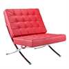 Fine Mod Imports Pavilion Chair in Italian Leather, Red