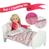"Olivia's Little World - Little Princess 18"" Doll Furniture - Single Bed & 2 Bedding Set - Polka Dots / Modern Chevron"