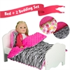 "Olivia's Little World - Little Princess 18"" Doll Furniture - Single Bed & 2 Bedding Set - Zebra Prints / Summer Flowers"