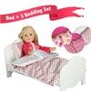 "Olivia's Little World - Little Princess 18"" Doll Furniture - Single Bed & 3 Bedding Set - Polka Dots / Summer Flowers / Modern Chevron"