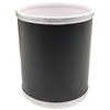 Budget Series Vinyl Round Wastebasket, Black/Silver