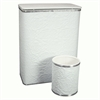 Budget Series Diamond Pattern Vinyl Jumbo Hamper & Round Matching Wastebasket, White/Silver