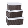 Three PC Basket Set, Espresso/White
