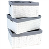 Redmon Three PC Basket Set, White/Gray