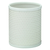 Chelsea Pattern White Wicker Round Wastebasket, White