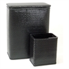 Chelsea Collection Hamper with Matching Square Wastebasket, BLACK